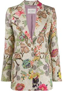 Etro Blazer Com Estampa Floral - Neutro