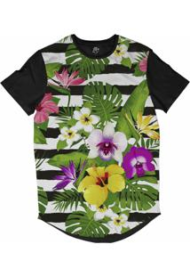 Camiseta Bsc Longline Floral Listrado Sublimada Preta Branca
