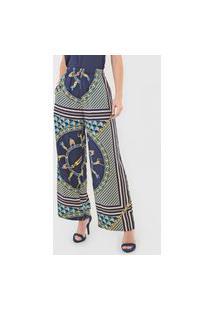 Calça Lacoste Pantalona Estampada Azul-Marinho/Verde