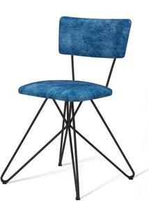 Cadeira Pop Azul Base Estrela Preta - 49562 - Sun House