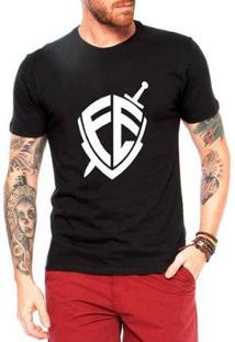 Camiseta Criativa Urbana Escudo Fé Religiosa Masculina - Masculino