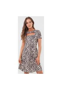Vestido Fiveblu Curto Curt Out Zebra Bege