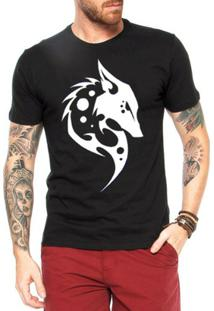 Camiseta Criativa Urbana Lobo Tribal - Masculino