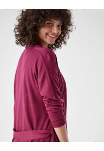 Casaco Tricot Faixa Zinzane Feminino - Feminino-Pink