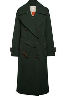 Burberry Trench Coat Com Lapelas Oversized - Verde