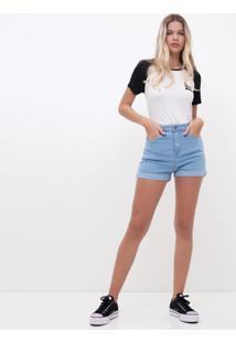 Short Cintura Alta Em Jeans Claro