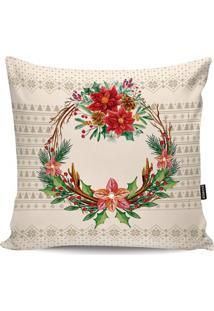 Capa Para Almofada Floral- Bege Claro & Verde- 45X45Stm Home