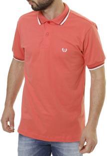 Camisa Polo Vilejack Jeans Coral/Branca