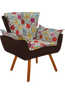 Poltrona Decorativa Opala Suede Composê Estampado Floral Color D17 E Suede Marrom - D'Rossi