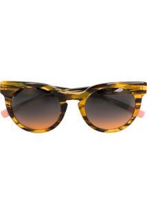 Nk Óculos De Sol Animal Print - Amarelo