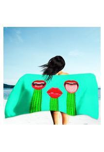 Toalha De Praia / Banho Cactus And Red Lips Único