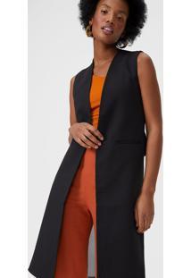 Colete Amaro Fashion Com 2 Tecidos Preto - Preto - Feminino - Dafiti