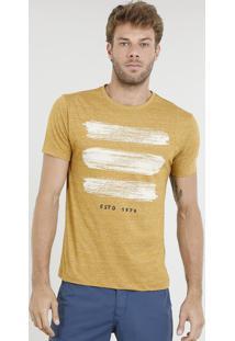 Camiseta Masculina Com Estampa E Bordado Manga Curta Gola Careca Mostarda