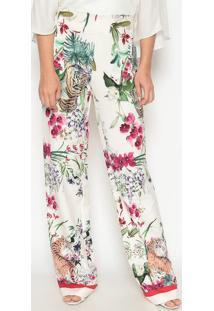 Calça Pantalona Animal Print - Off White & Vermelhadudalina