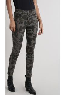 Calça De Sarja Feminina Skinny Estampada Camuflada Verde Militar