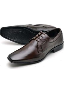 Sapato Social Couro Confort Reta Oposta Masculino - Masculino-Marrom
