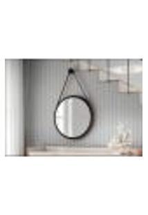 Espelho Decorativo Preto Com Alça Marrom 54Cm - Hb Móveis