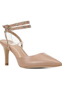 Scarpin Couro Shoestock Bride Rebite Strass Salto Alto - Feminino-Nude