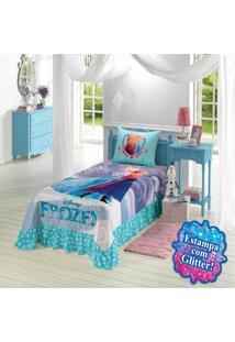 Colcha Solteiro Infantil Lepper Frozen Matelassê Com Babado Azul Claro