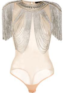 Elisabetta Franchi Body Com Aplicações - Neutro
