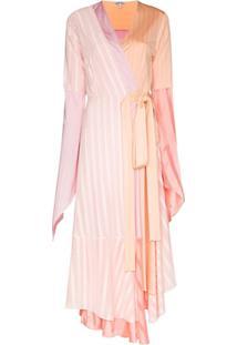 Loewe Asymmetric Pleated Midi Dress - Rosa