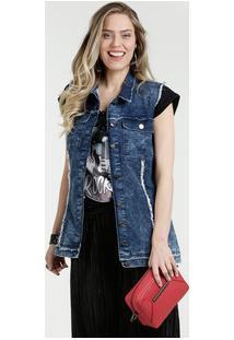 Colete Feminino Jeans Marmorizado Gups