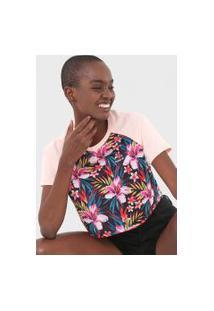 Camiseta Cropped Hurley Raglan Flores Rosa