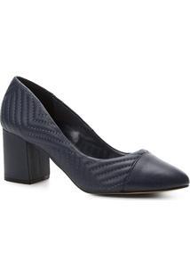 Scarpin Couro Shoestock Salto Médio Matelassê - Feminino-Marinho