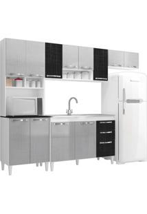 Cozinha Compacta Com Balcão Carol 12 Portas Branco/Gelo/Negro - Mpdecor