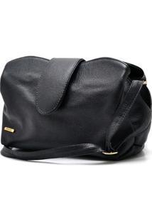 Bolsa Pequena Com Repartição Em Couro Feminina - Feminino-Preto