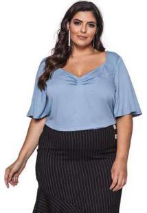 Blusa Almaria Plus Size Pianeta Cropped Azul Jeans Azul