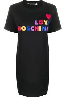 Love Moschino Vestido Com Logo - Preto