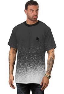 Camiseta Manchada Di Nuevo Preta Com Gotas De Tinta Branca