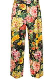 Dolce & Gabbana Calça Cropped Floral - Preto
