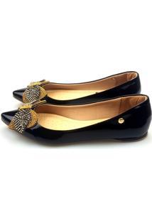 Sapatilha Love Shoes Bico Fino Pedraria E Strass Verniz Preto
