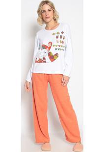 Pijama Manga Longa & Calã§A- Branco & Laranjasonhart