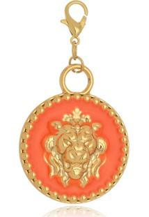 Pingente Le Diamond Medalha De Leã£O Laranja - Laranja - Feminino - Dafiti