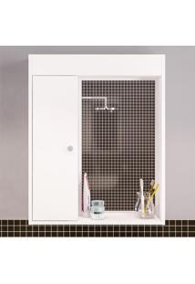 Armário De Banheiro Aéreo 1 Porta 2 Prateleiras Branco Bp - Politorno