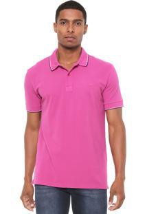 Camisa Polo Colcci Reta Listras Pink