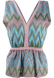 M Missoni Zig-Zag Knit Top - Rosa