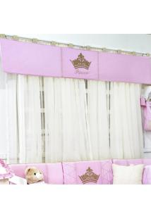 Cortina Dupla Padroeira Baby Princesa Luxo Rosa