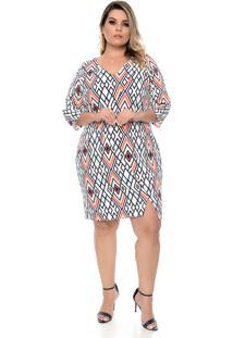Vestido Domenica Solazzo Geométrico Plus Size