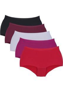 Kit Com 5 Calcinhas Magia Boxer Sem Costura Feminino - Feminino-Vermelho+Preto