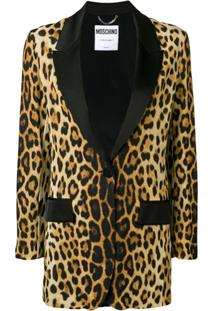 Moschino Blazer Com Animal Print - Marrom