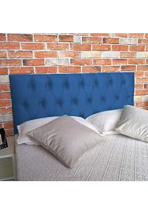 Cabeceira Painel Luna Suede Liso Azul Casal 140 X 60