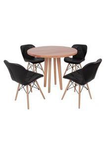 Conjunto Mesa De Jantar Em Madeira 90Cm Com Base Vértice + 4 Cadeiras Slim - Preto