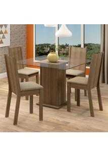 Conjunto Sala De Jantar Madesa Maya Mesa Tampo De Vidro Com 4 Cadeiras Marrom - Tricae