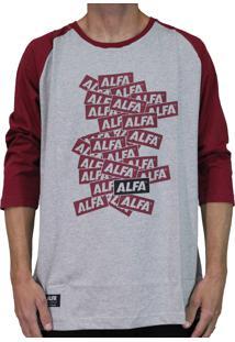 Camiseta Alfa Raglan 3/4 Sticker Bordo