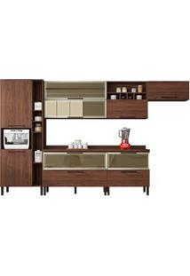 Cozinha Modulada 8 Peças Viv Concept C06-A Nogueira/Off White - Kit´S