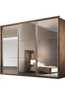 Guarda-Roupa Natal Com Espelho - 3 Portas - 100% Mdf - Café